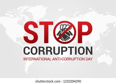 Stop Corruption and International Anti-Corruption Day Illustration