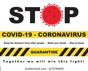 Stopp Covid-19 (Coronavirus) halten die Distanz zu anderen Menschen, waschen Sie Ihre Hände, bleiben zu Hause, zusammen gewinnen wir diesen Kampf.