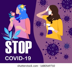 Stop COVID-19, illustration of a woman in a medical face mask and a woman smelling a flower aroma