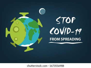 Stop Covid19 Spreading Slogan Poster Concept Stock Vector Royalty Free 1673556988