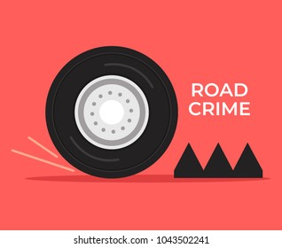 Stop crime car with spike strip. Road crime concept. Vector flat cartoon illustration