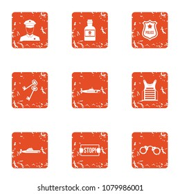 Stop crime icons set. Grunge set of 9 stop crime vector icons for web isolated on white background