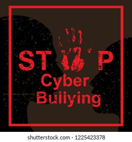 Stop cyber bullying sing concept. Vector illustration