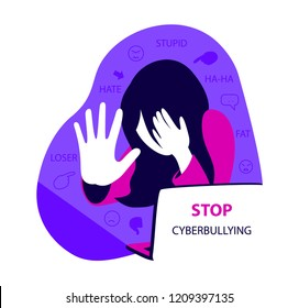 Stop cyberbullying concept, sad girl in front of laptop, flat vector illustration