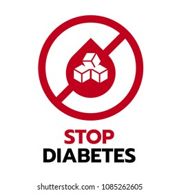 Stop Diabetes sign with red drop blood and  sugar in circle stop sign vector design