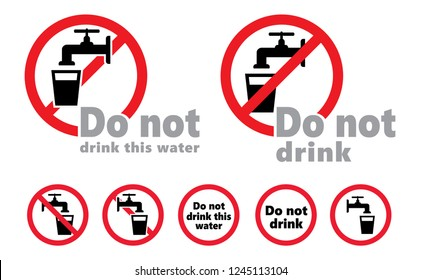 Stop do not drink this water Vector World water day save the water stop H20 tap taps faucet doodle no drinking drinkable prohibition forbid forbidden  drop drops