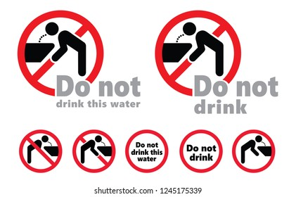Stop do not drink this water Vector World water day save the water stop H20 tap taps faucet doodle no drinking drinkable prohibition forbid forbidden  drop drops fountain fount