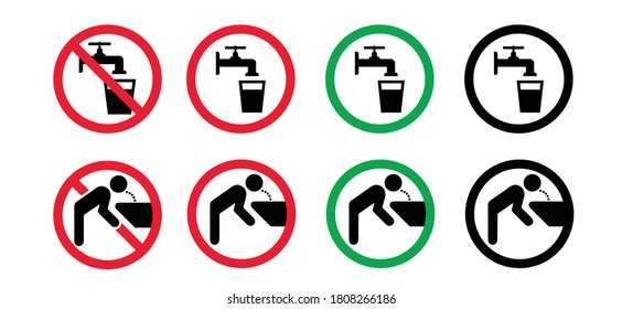Stop, do not drink this water tap, faucet symbol. Don`t drinking bacteria water icons. Contaminated water. Flat vector legionella signs. Legionellosis. Suitable drinkable water.