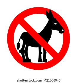 Stop donkey.  Ban stupid people. Prohibited fool. Crossed-out silhouette of ass. Emblem against stupidity. Red prohibition sign