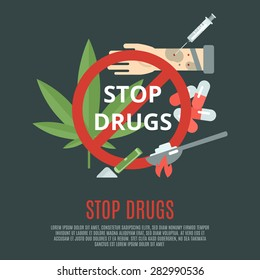 Stop drugs concept with marijuana leaf syringe and pills flat icons set vector illustration