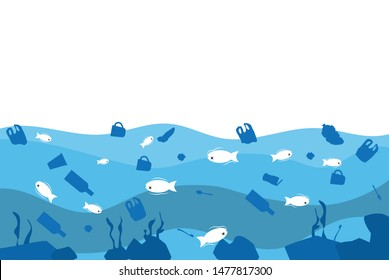 Stop dumping plastic waste into the sea. Plastic pollution in the ocean. Dead fish floating in the river. Poster of the underwater ecosystem. Copy-space for text. Vector illustration in flat design.