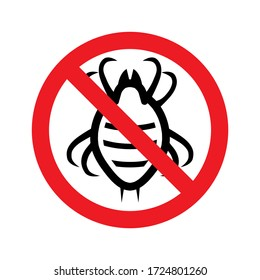 Stop dust mite sign. Prohibitory symbol. Vector illustration, flat icon. Template for use in medical agitation.