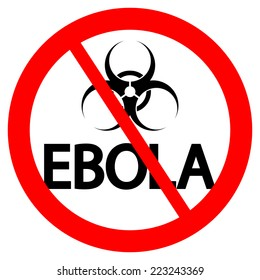 Stop Ebola sign on white background. Vector illustration.