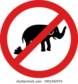 Stop elephant shit icon with flat style. Isolated vector stop elephant shit icon illustrations, simple style.