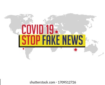 Stop fake news hoax for Covid19. Message against disinformation and fraud about coronavirus covid-19.