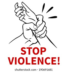Stop family violence! Vector poster design