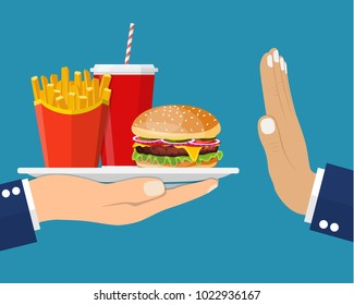 Stop fast food junk snacks concept with refusing hand. Fast food and soda beverage. fast food breakfast. Vector illustration in flat style