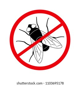 Stop the fly, insect pest, black silhouette, sign and symbol, flat design. Vector illustration.