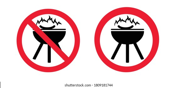 Stop, forbidden roaster bbq, grill to ead food allowed. No ban zone sign. No Barbecue with fire sign. Do not picnic party. Warning banner. forbid, No campfire flame.