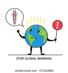Global warming cartoons images stock photos vectors shutterstock stop global warming vector illustration planet earth feels hot graphic design globe with exclamation ccuart Image collections