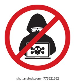 Stop hacker with cross bone forbidden signal icon on white background. Vector illustration cybercrime technology data privacy and security concept.