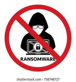 Stop hacker ransomware forbidden signal icon on white background. Vector illustration cybercrime technology data privacy and security concept.