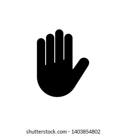 Stop Hand. Flat Vector Icon illustration. Simple black symbol on white background. Stop Hand sign design template for web and mobile UI element