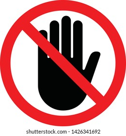 Stop Hand Forbidden sign symbol