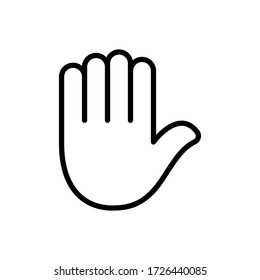 Stop hand gesture designed in a line style
