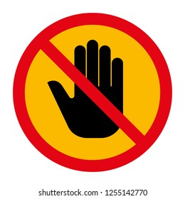 Stop hand sign icon illustration.