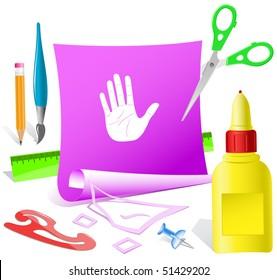 Stop hand. Vector paper template.