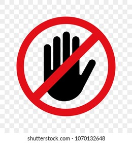 Stop hand vector warning icon for no entry or dont touch sign