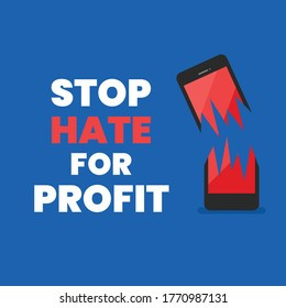 Stop hate for profit banner. Vector illustration