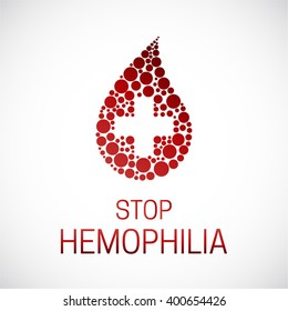 Stop hemophilia. World Hemophilia Day vector illustration poster. Drop of blood with medicine cross isolated.