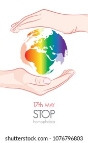 Stop homophobia. Earht in lgbt flag colors. Vector illustration on white background.