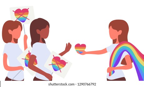 Stop homophobia. LGBT giving heart, love to Anti-homosexual people. LGBT pride. Colorful vector illustration in flat style.