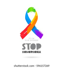 Stop homophobia. It's okay to be different. Lettering. Rainbow ribbon. Vector illustration on white background. Sex Culture concept.