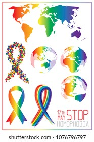 Stop homophobia. Ribbon from little bright hearts in lgbt flag colors. Rainbow earth. Vector illustration on white background.