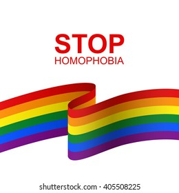 Stop homophobia. Vector card for the International Day Against Homophobia. Vector rainbow LGBT flag