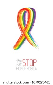 Stop homophobia. Watercolor rainbow ribbon. Vector illustration on white background.