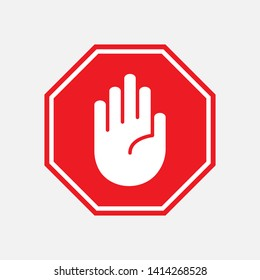 Stop Icon. Hand Gesture As Forbidden Illustration, Simple Vector, Sign & Trendy Symbol for Design and Websites, Presentation or Mobile Application.