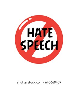 Stop icon social negative word. No hate speech sign.