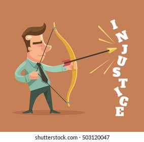 Stop injustice. Man character broke injustice word. Vector flat cartoon illustration