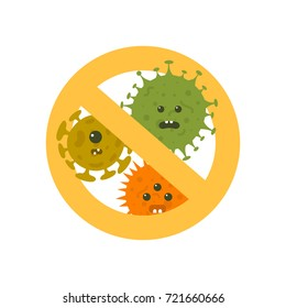 Stop microbes cartoon vector illustration. Anti bacteria symbol and protection infection