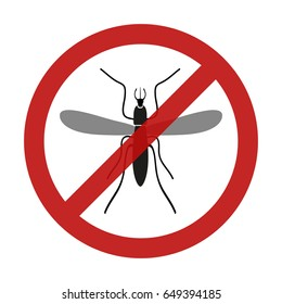 stop mosquito insect red restriction sign eps10