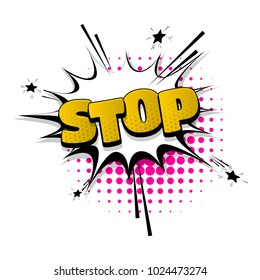 stop, no, sign hand drawn pictures effects. Template comics speech bubble halftone dot background. Pop art style. Comic dialog cloud, text pop-art. Creative idea conversation sketch explosion.