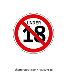 STOP! Not for children under 18 years. Vector. The icon with a red contour on a white background. For any use. Warns.