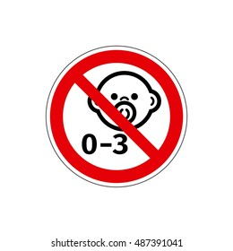 STOP! Not for children under 3 years. Vector. The icon with a red contour on a white background. For any use. Warns.