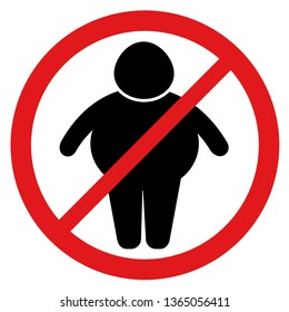Stop obesity and overweight - sign and symbol for overweight restriction and limitation. Appeal to lose weight and slim down. Vector illustration