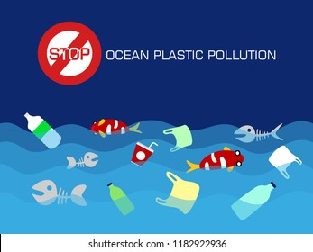 Stop ocean plastic pollution concept. vector illustration.